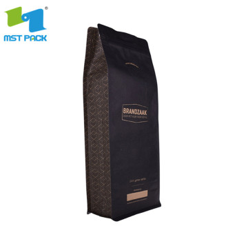 Flat bottom paper bag with zipper and valve