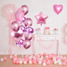 PATIMATE Multi Confetti Foil Balloon Heart Star Birthday Party Decorations Kids Wedding Decoration Wedding Party Supplies