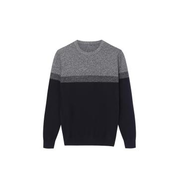 Men's Knitted Stripe Crew-Neck Pullover Color Block