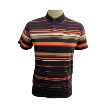 Men`s knit yarn dyed feeder stripe polo shirt