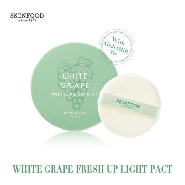 Korea skinfood White Grape face setting compact pressed powder foundation makeup, make up white powder for face 12g powder cake