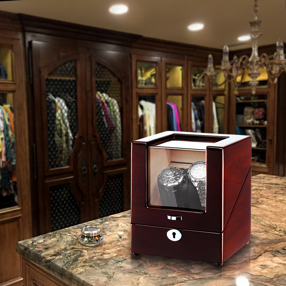 red wood watch winder in dressing room