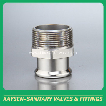 Sanitary Hexagon Clamped  Adapter 21MP NPT male