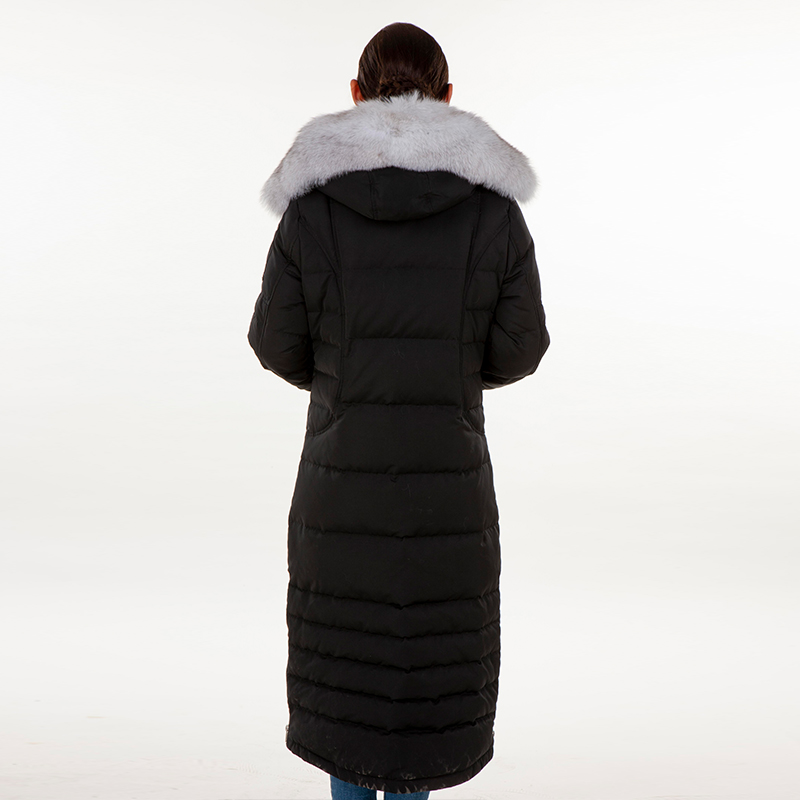 Down jacket black with hat