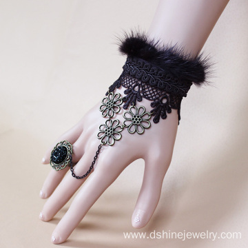 Alloy POM Bangle Ring Lace Jewelry Embroidered Lace Bracelet