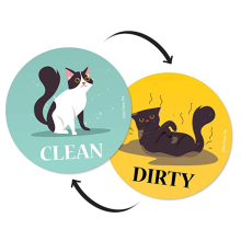 Funny Cat Dishwasher Magnet Clean Dirty Sign