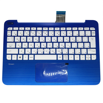 For HP Stream 11 11-R 11-D JP Keyboard 11-R015 11-r014 11-R015NR Japanese White Blue Palmrest Touchpad Upper Case FAY0H001010