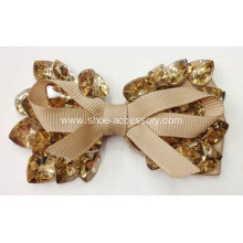 Bowknot Fabric Flower Shoe Ornaments, Rhinestone&Color Glass Adorn Shoe Flower