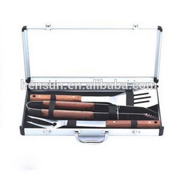 BBQ Grilling Accessory Tool Set with Wood Handle