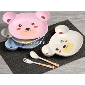 Colorful Bear Shape Bamboo Fiber Dinnerware Set