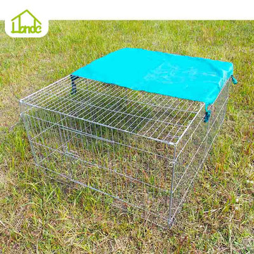 Easy to move galvanized rabbit cage