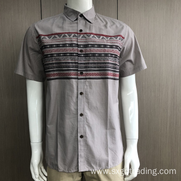 Male 100%cotton ethnic print short sleeve shirt