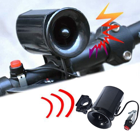 Electronic Bicycle Ultra Loud Bell 6 Sound Effects Waterproof Alarm Speaker Bike Accessories Battery Included Safety Bike Horn