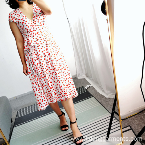 Women Short Sleeve Printing Casual Dress