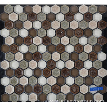 Hexagon glass porcelain mosaics