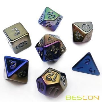 Bescon Unpainted Raw Plating Polyhedral Dice Set of Dark Pop, RPG Dice Set of 7