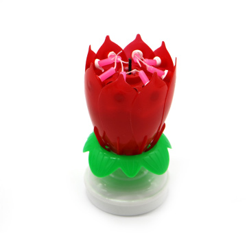 Hot Sale Amazing Lotus Musical Rotating Birthday Candle