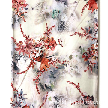 Chinese Wash Painting Rayon 45S Semi Digital Printing