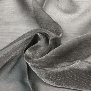 Grey Shiny Organza Tulle Fabric for Fashionable Dress