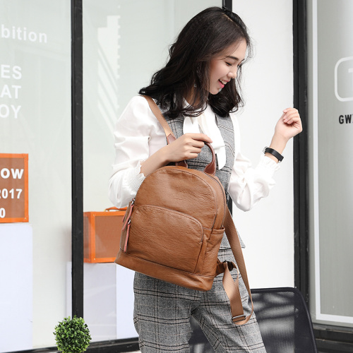 Brown Leather Crossbody Fanny Backpack for Women