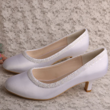 Small Clear Beaded Bridal Shoes Low Heeled