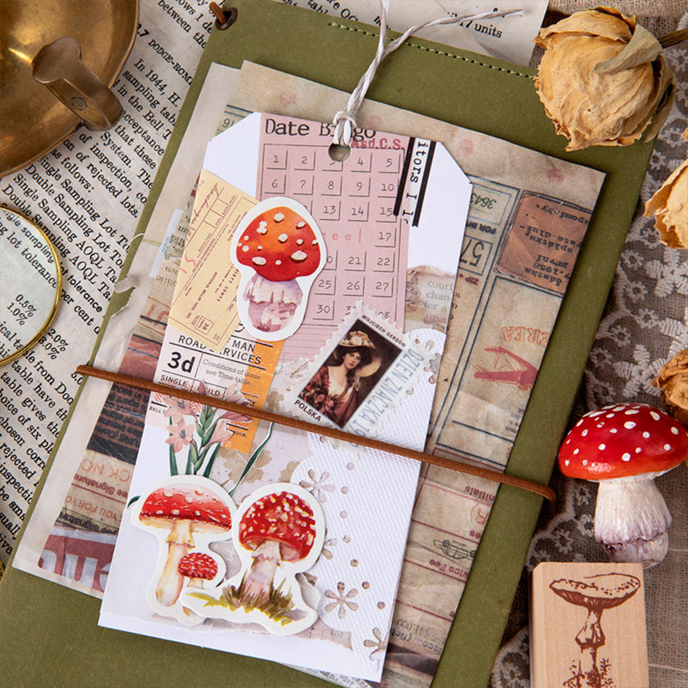 45 Pieces/Box Cute Red Mushroom Sticker Collection Stationery Creative Plant Manual Decoration General Sealing Paste