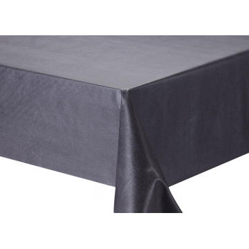 Solid Embossed Fabric Plastic Round Tablecloth