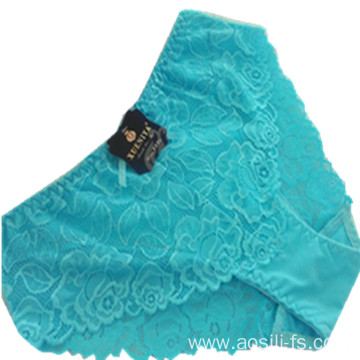 China wholesale sky blue panty mid-waist shaper sexy hot sale lace floral underwear 2537