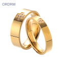 Cubic Zirconia Gold Plated Wedding Ring Sets