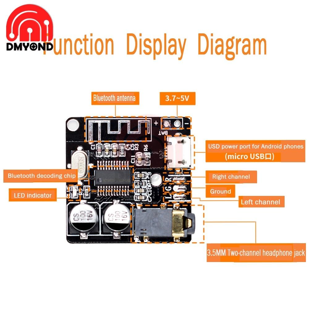 VHM-314 3.3V 5V Bluetooth Decode Board MP3 Lossless Car Speaker Amplifier Retrofit Bluetooth 5.0 Circuit Stereo Receiver Module