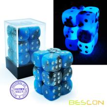 Bescon Two Tone Glowing Dice D6 16mm 12pcs Set BLUE DAWN, 16mm Six Sided Die (12) Block of Glowing Dice