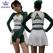 Custom white and green cheer uniforms