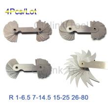 4 Pcs Radius Gauges Set R1-6.5/R7-14.5/R15-25/R26-80mm Stainless Steel Gauges Measuring Tools