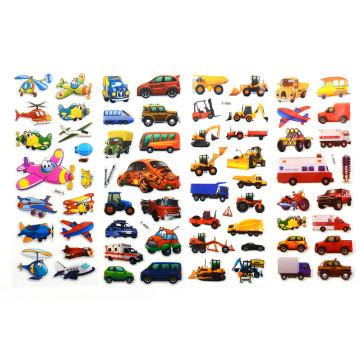 5pcs 3D Cartoon Transport Cars Stickers Kids Classic Toys Bubble Sticker School Reward Gift Decoration Stationery Stickers