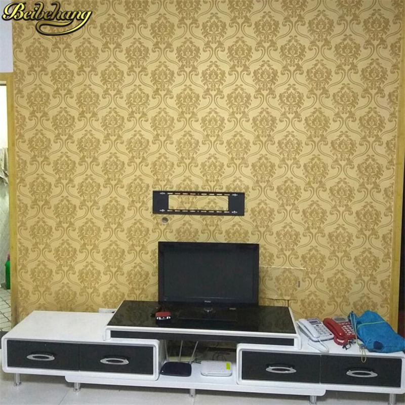beibehang Damask papel de parede 3D wallpaper For Walls vinyl PVC glitter wall paper for Living Room wall-paper papel wall