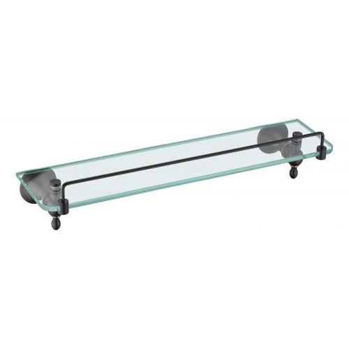 Black holder with temper glass shelf for bathroom