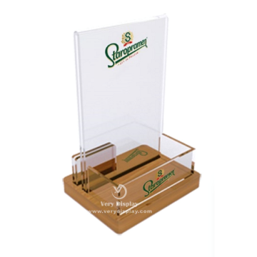 Customized table acrylic menu holder with brochure pocket