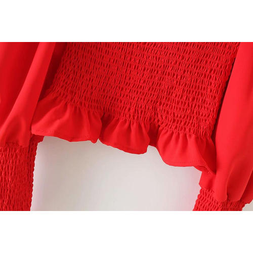Women's Square Collar Stretch Elastic Tops Blouses