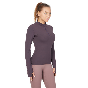 long sleeve yoga crop tops for women