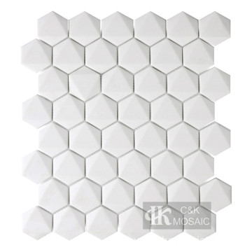 New Collection 3D White Hexagon Recycled Glass Mosaic