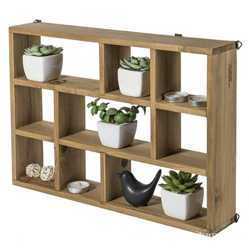 15 Inch Wall-Mounted (Vertical or Horizontal) 9-Slot Rustic Wood Floating Shelves