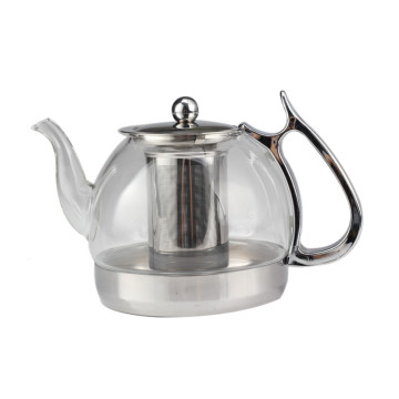 Food Grade Stainless Steel Base-Glass Tea Pot