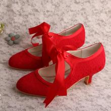 Low Heel Red Bridal Shoes Mary Jane