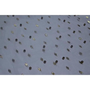 100%Nylon Gold Pattern Mesh Fabric With Lulu
