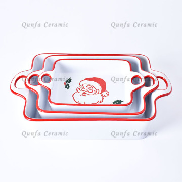 Christmas Decals Ceramic Bakeware Set With Handle