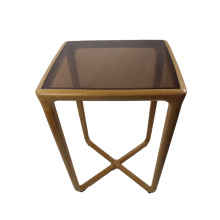 wooden tea table with glass