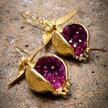 Fashion Fresh Style Pomegranate Purple Red Flesh Golden Earrings Wedding Anniversary Women Earring Banquet Party Jewelry