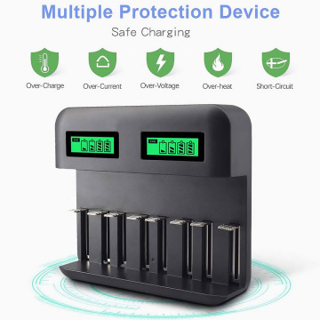 8-Slot Battery Charger USB Powered AA/AAA/C/D Rechargeable Battery Charger with LCD Display