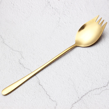 304 gold plating metal spork stainless steel