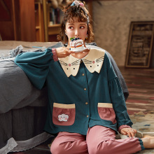 NIGHTWA Women Pajamas Autumn Long sleeve Cotton sleepwear Sweet Cute Princess Style Outdoor Women Homewear Sleep Lounge